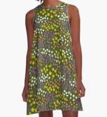 Green Field of Flowers A-Line Dress