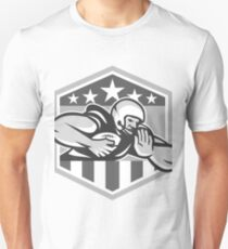 American Football Running Back Fend-Off Crest Grayscale T-Shirt