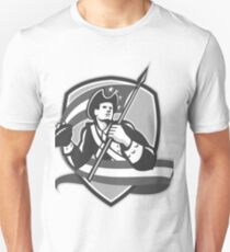 American Patriot Football Soldier Shield Grayscale T-Shirt