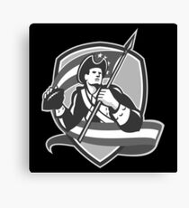American Patriot Football Soldier Shield Grayscale Canvas Print
