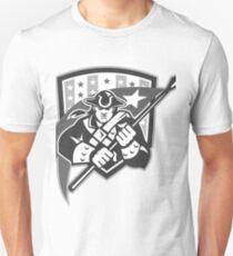American Patriot Holding Brandish Flag Grayscale Unisex T-Shirt