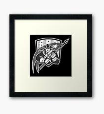 American Patriot Holding Brandish Flag Grayscale Framed Print