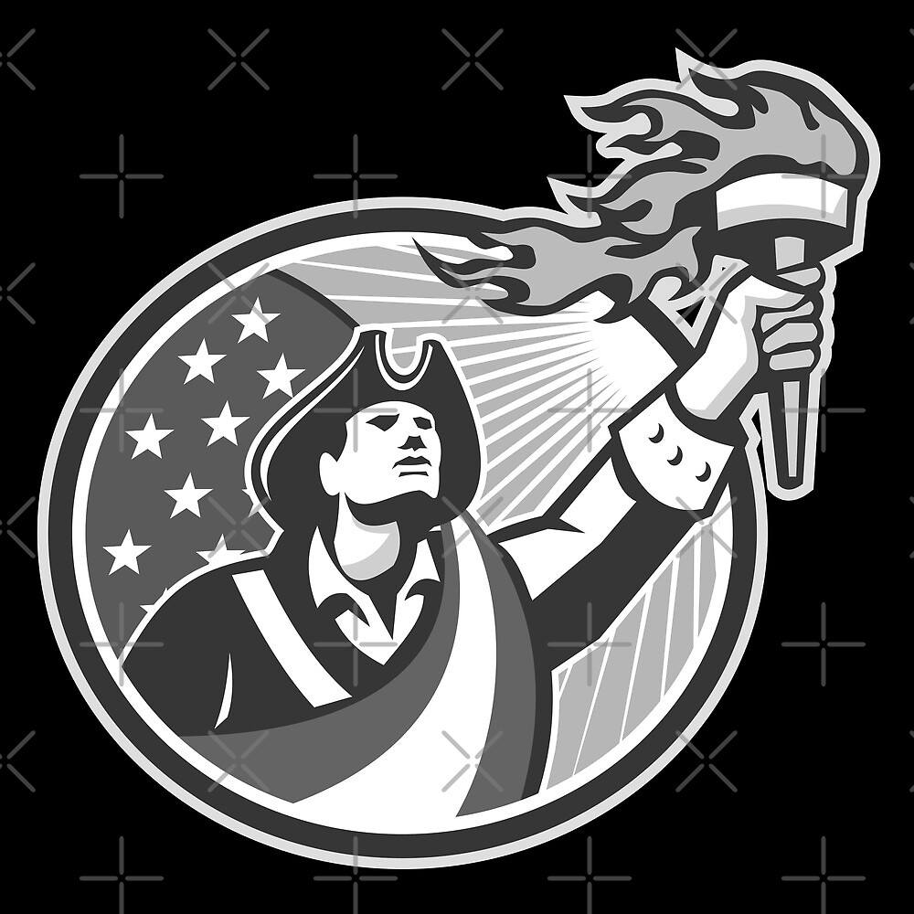 American Patriot Holding Torch Circle Grayscale by patrimonio