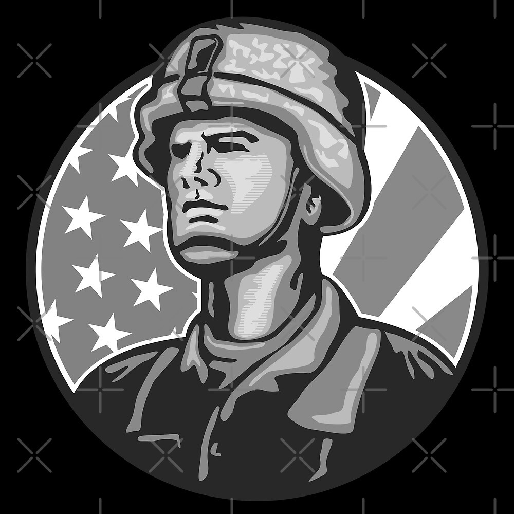 American Serviceman Soldier Flag Grayscale by patrimonio