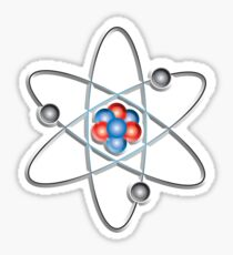 ATOM, ATOMIC, Lithium atom, model, SMALL, Physics, Neutrons, Protons, Electrons, Nuclear, Energy, Fission, Fusion, on WHITE  Sticker