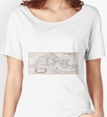 Vintage Map of The Mediterranean Sea (1745) Women's Relaxed Fit T-Shirt