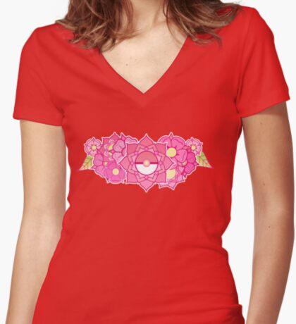 Pokeball Flowers Fitted V-Neck T-Shirt