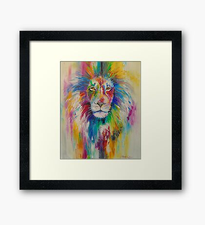 Rainbow lion Framed Print