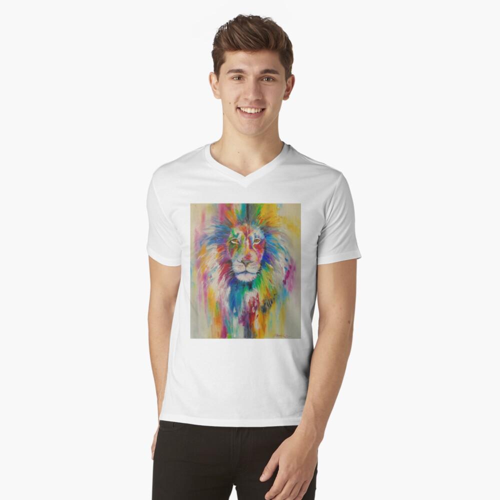 Rainbow lion T-Shirt mit V-Ausschnitt
