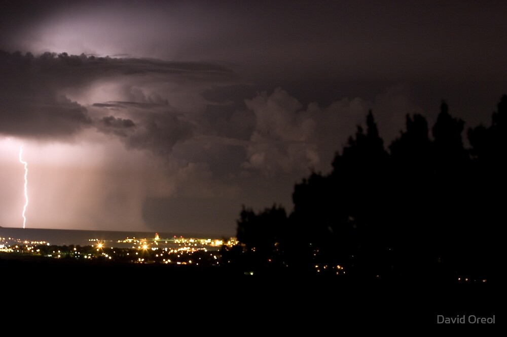 Lightning Over the City by David Oreol