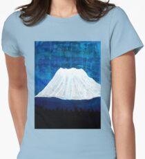Mount Shasta original painting Women's Fitted T-Shirt