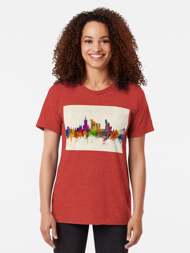 Alternative Ansicht von Warschau Polen Skyline Vintage T-Shirt