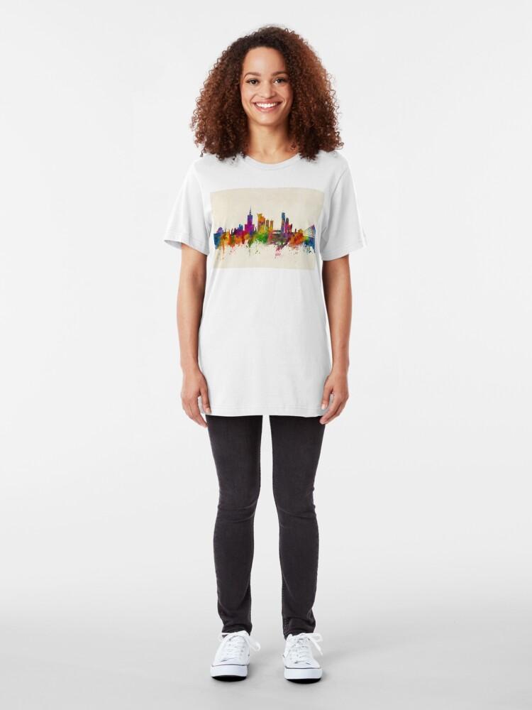 Alternative Ansicht von Warschau Polen Skyline Slim Fit T-Shirt