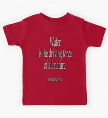 LEONARDO, Artist, Sculptor, Leonardo da Vinci, 'Water is the driving force of all nature.' White on Black Kids Clothes