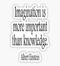 EINSTEIN, Imagination, is more important than knowledge. Albert Einstein, Black Type Sticker