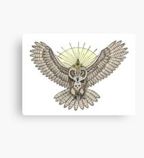 Mason Owl with skull, rule, compass and the eye that sees everything (tattoo style) Canvas Print