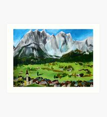 Tyrol Austrian Mountains Europe Landscape Contemporary Acrylic Painting Art Print