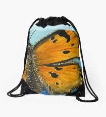 Grey Comma Butterfly Drawstring Bag