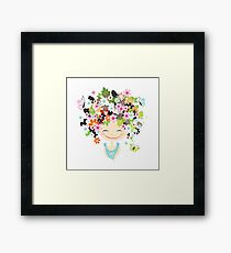 Cute girl with floral hairstyle Framed Print