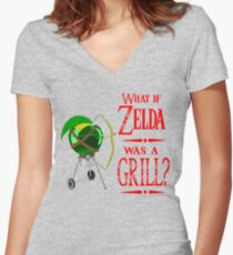 What if Zelda was a Grill? Women's Fitted V-Neck T-Shirt