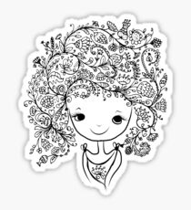 Cute girl with floral hairstyle Sticker
