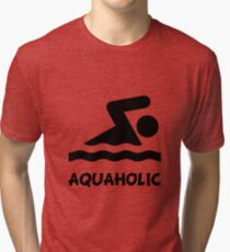 Aquaholic Swimmer Tri-blend T-Shirt