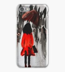 Girl In The Red Raincoat Urban Cityscape Contemporary Acrylic Painting iPhone Case/Skin