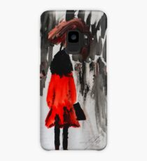 Girl In The Red Raincoat Urban Cityscape Contemporary Acrylic Painting Case/Skin for Samsung Galaxy