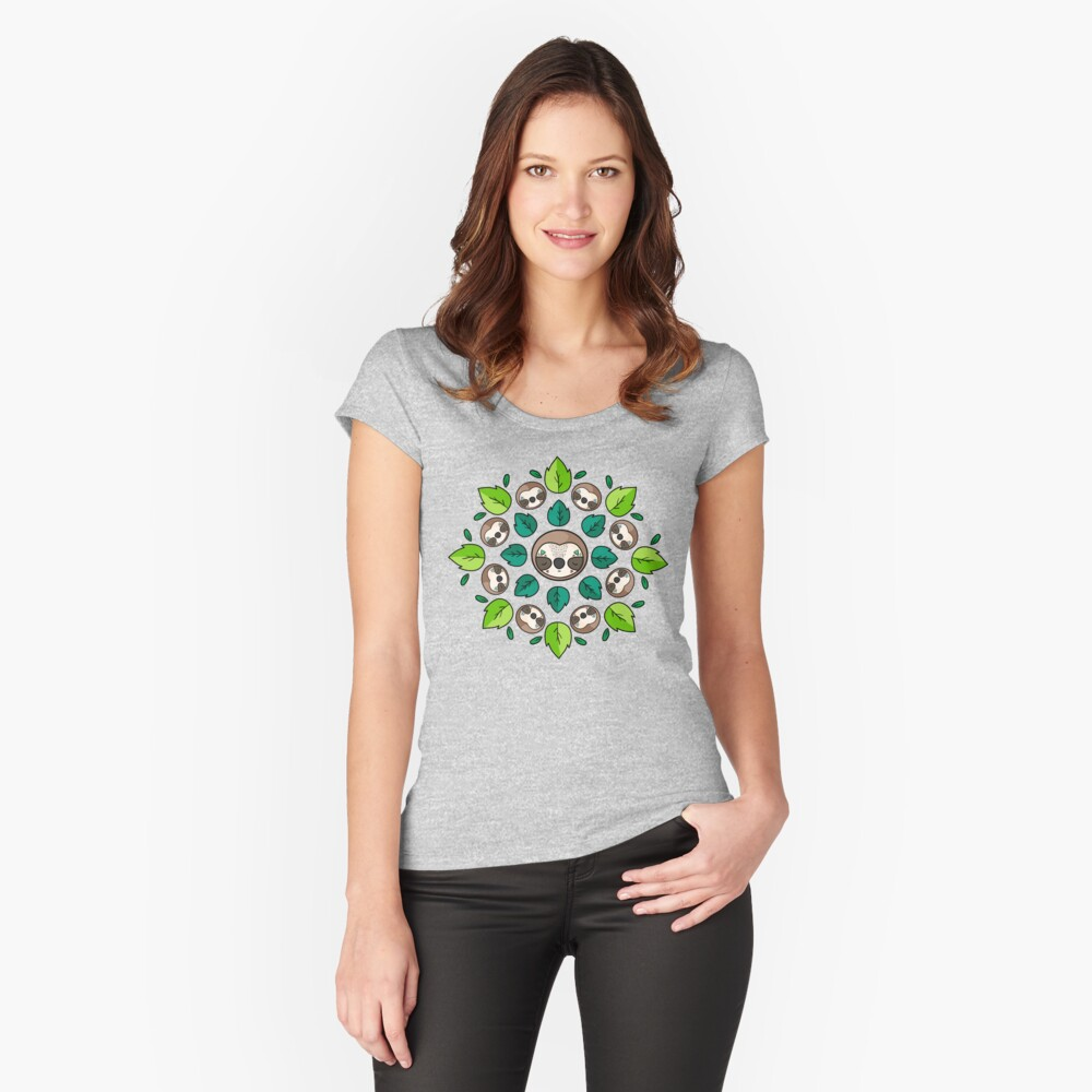 Mandala Sloth Fitted Scoop T-Shirt