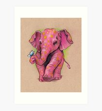 Pink Elephant (with golden spots) Art Print