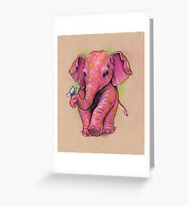 Pink Elephant (with golden spots) Greeting Card