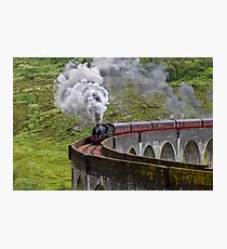 Steam train crossing the Glenfinnan Viaduct Photographic Print