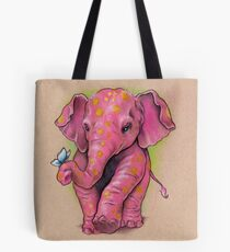 Pink Elephant (with golden spots) Tote Bag