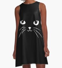 Cute Black Cat A-Linien Kleid