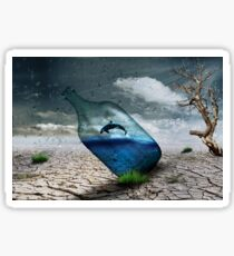 Fish in a bottle with tree, art Sticker