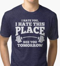 Camiseta de tejido mixto Te odio gimnasio entrenamiento superior