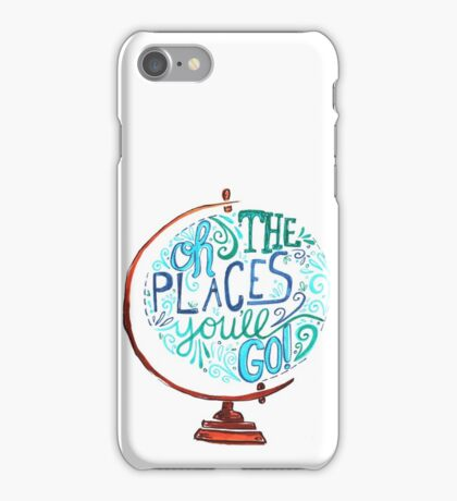 Oh The Places You'll Go - Vintage Typography Globe iPhone Case/Skin