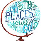 Oh The Places You'll Go - Vintage Typography Globe by Kit Cronk
