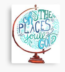 Oh The Places You'll Go - Vintage Typography Globe Metal Print