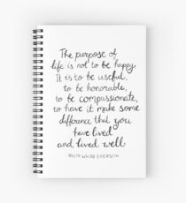 Inspirational Quote - Purpose of Life, Emerson Spiral Notebook