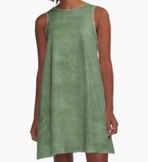 Vineyard Green Oil Pastel Color Accent A-Line Dress