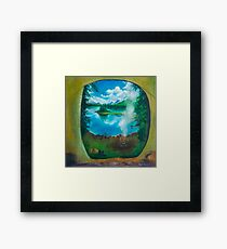 Camping oil painting Framed Print