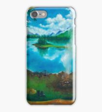 Camping oil painting iPhone Case/Skin