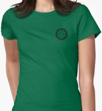 Golfing tshirt - East Peak Apparel - Small Circular Logo Print Womens Fitted T-Shirt
