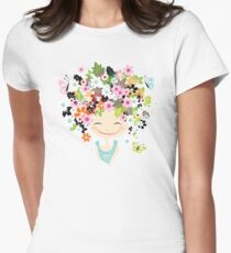 Cute girl with floral hairstyle Womens Fitted T-Shirt