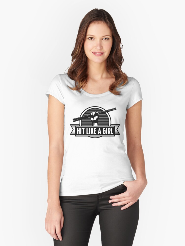 Drummer girl Women's Fitted Scoop T-Shirt Front