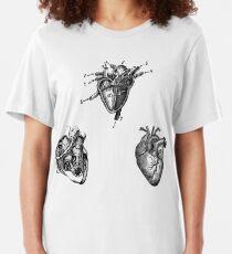 Vintage Herz Anatomie Slim Fit T-Shirt