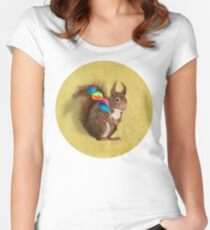 Squirrel with lollipop Women's Fitted Scoop T-Shirt