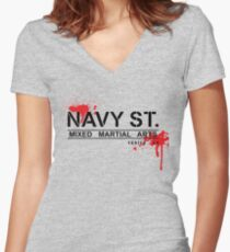 NAVY STREET MMA BLOOD Women's Fitted V-Neck T-Shirt
