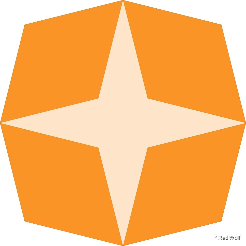 Geometric Pattern: Diamond Star: Light Orange by * Red Wolf